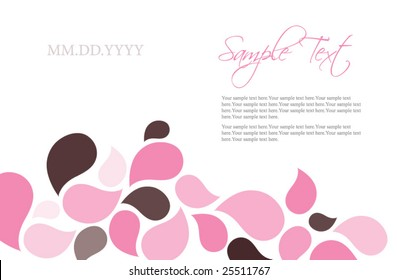 Pink and Chocolate Brown Flower Pedals Invitation Template