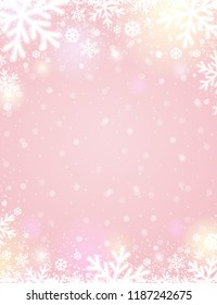 Pink christmas background with white blurred snowflakes, vector illustration