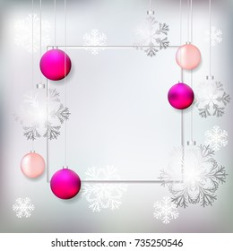 Pink Christmas balls. Frame. Silver. New Year. Celebration. Winter. Beautiful vector illustration. Gray background. Snowflakes.