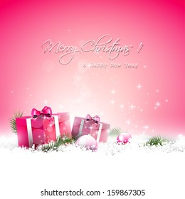 Pink Christmas greeting card with gift boxes and branches in snow