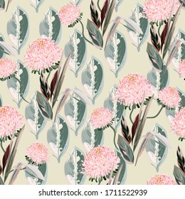 Pink chrysanthemum flowers and tropical palm leaves on a light beige, cream color background. Floral seamless vector pattern. Square repeating design for fabric, wallpaper, decoupage.