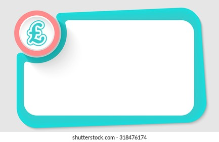 Pink circle and pound sterling symbol and green frame for your text