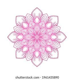 Pink circular lotus mandala flower pattern. Vector illustration