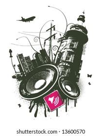 Pink city speaker grunge