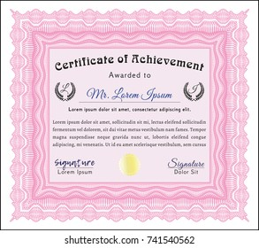 Pink Classic Certificate template. With linear background. Vector illustration. Modern design.