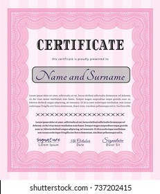 Pink Classic Certificate template. Modern design. With great quality guilloche pattern. Customizable, Easy to edit and change colors.