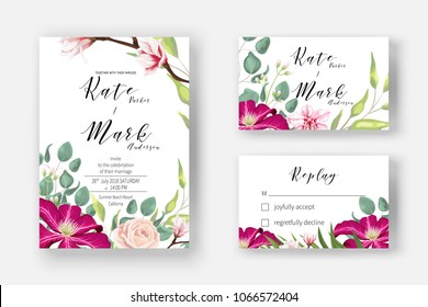 Pink clematis, powder rose, blooming magnolia, orchid, fern, eucalyptus and greenery bouquet for Invitation cards for marriage, rsvp reply, Wedding invite template with watercolor flowers.