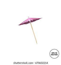 pink cocktail umbrella realistic isolated on white background
