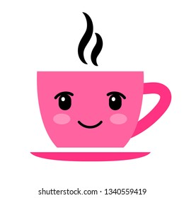 Pink coffee cup with eyes