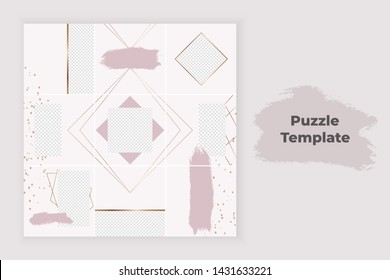 Pink collage puzzle for social media with brush stroke texture, gold lines and confetti. Trendy templates for banner, stories, posts, flyer.