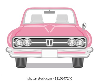 Pink color convertible - Front view