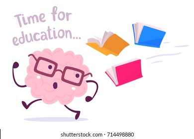Pink color lazy brain with glasses running away from color books on white background. Vector illustration of brain avoiding knowledge. Cartoon concept flat style education design of character brain