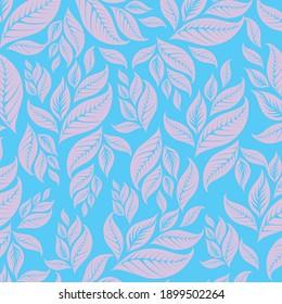 pink color leaf patterns on blue background vector