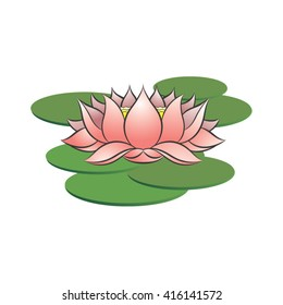 Pink Colored Lotus Flower On Green Stock Vector Royalty Free