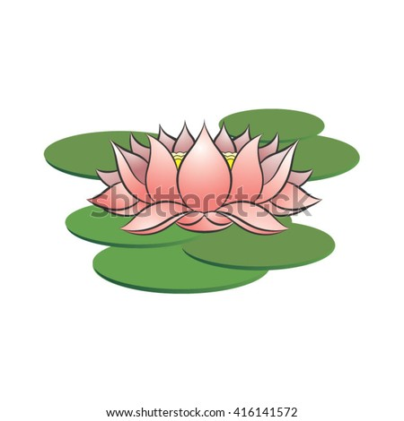 Pink color lotus flower on leaves stock vector royalty free pink color lotus flower on leaves vector drawing mightylinksfo