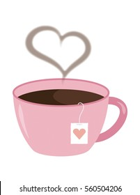 Pink Color Tea Cup with Heart Steam