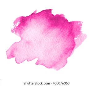 Pink colorful watercolor hand drawn stroke isolated paper grain texture stain on white background for design, decoration. Abstract artistic shape vector element.