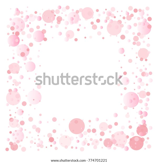 Pink Confetti Frame Border Light Gentle Stock Vector