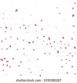 Pink Confetti Gift. Red Heart Party. Tiny Decoration Print. Love Template. Valentine Random. Wedding Random. Falling Party. Wallpaper Illustration.