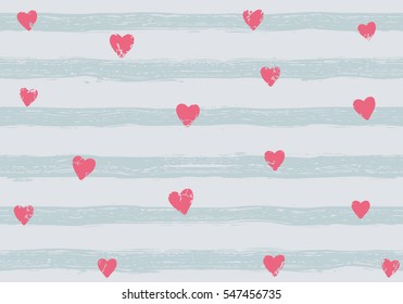 Pink confetti hearts on a striped background. Seamless pattern. Hand painted brush strokes.