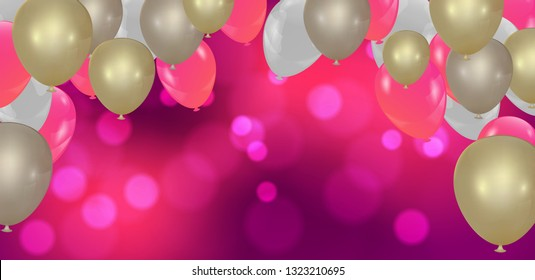 Pink with confetti helium balloon isolated in the air.for birthday, anniversary, celebration, event design. Vector illustration