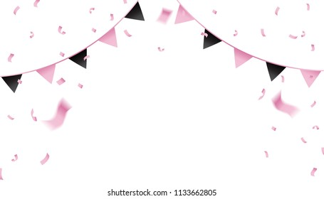 Pink confetti and pennant flag for the celebration.