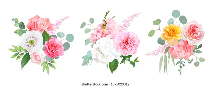Pink, coral and yellow rose, white hydrangea, carnation, papaver, peony, garden flowers, eucalyptus, astilbe, greenery, leaves vector wedding design bouquets. All elements are isolated and editable