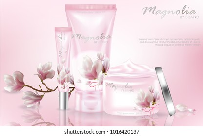 Pink cosmetic ad with magnolia flowers. Tender pink background with magnolia. Vector 3d illustration.