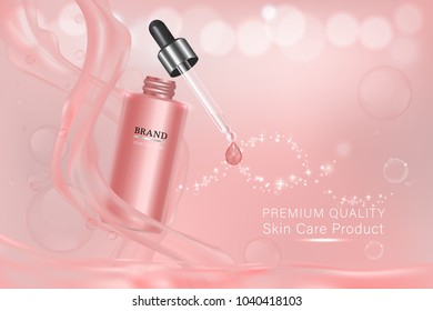 Pink cosmetic container with advertising background ready to use, luxury skin care ad. vector 3d illustration.