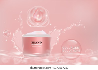 Pink cosmetic container with advertising background ready to use, liquid splash skin care ad, vector illustration.