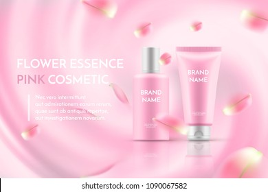 Pink cosmetic poster template with realistic skin care bottle and tube on a pink abstract background with flower petals. A beautiful Cosmetic magazine with rose sakura, vector illustration for ad.