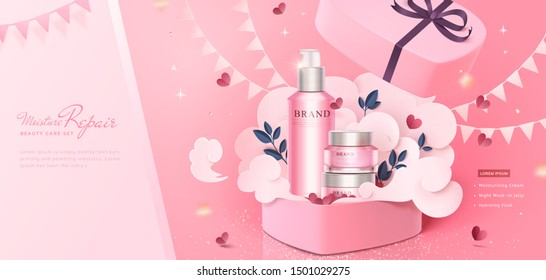 Pink cosmetic skincare set in paper heart shape gift box with flags and glitter effect, 3d illustration