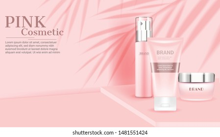 Pink cosmetic skincare set template