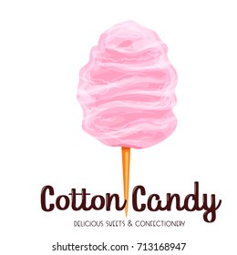 Pink cotton candy icon. Vector illustration product for attractions and festivals.
