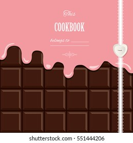 Pink cream melted on chocolate bar background. Cute design with sample text. Vector illustration.
