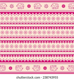 Pink and cream traditional oriental elephant and flowers henna pattern background