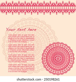 Pink and cream vintage oriental henna mandala and border design with space for text