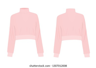 Pink crop sweater. vector illustration