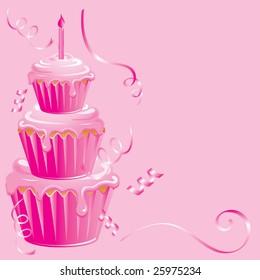Pink cupcake surprise birthday on pink background