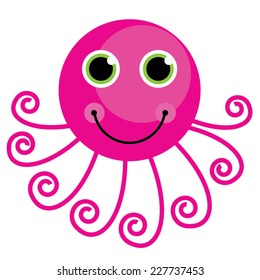 Pink Cute Cartoon Octopus