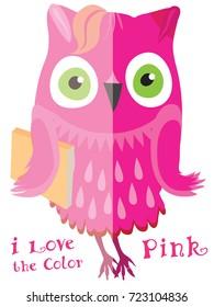 Pink cute cartoon owl