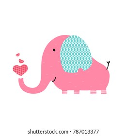 Pink cute elephant with three red hearts. Elephant Illustration for design, pattern, textiles.