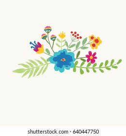 Pink cute flowers. Nature flowers embroidery patch vector decoration.