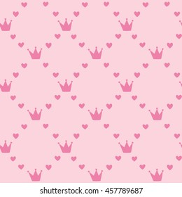 Pink cute hearts and crowns - seamless pattern