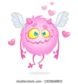 Pink cute monster with wings. St Valentines character