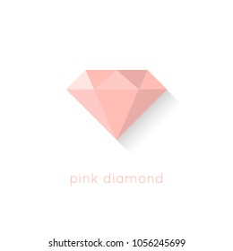 Pink diamond flat design illustration with shadow and text isolated on white background. Premium crystal gemstone in pastel colors.