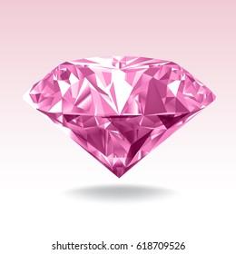 Pink diamond. Realistic Vector Illustration