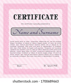 Pink Diploma template or certificate template. With linear background. Artistry design. Customizable, Easy to edit and change colors.