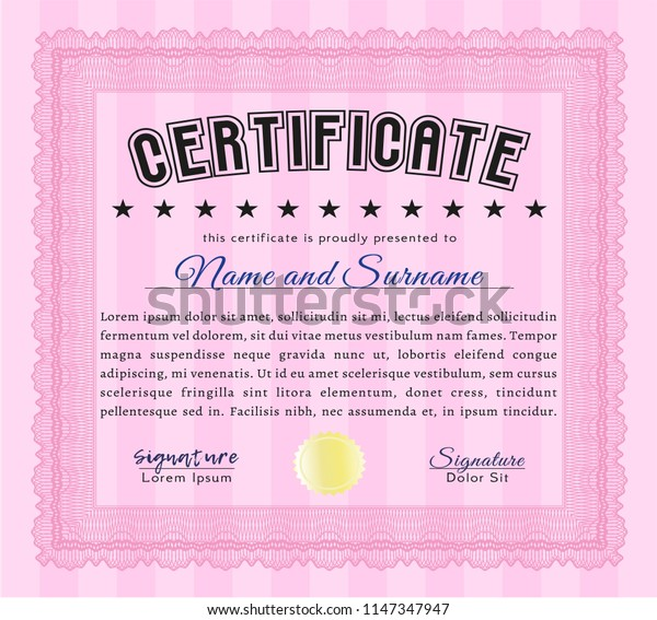 Pink Diploma template. Nice design. Detailed. With linear background.
