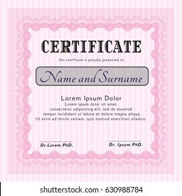 Pink Diploma template. Retro design. Printer friendly. Customizable, Easy to edit and change colors.
